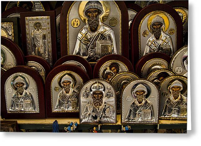 Greece Photographs Greeting Cards - Greek Orthodox Church Icons Greeting Card by David Smith