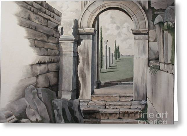 Grisaille Greeting Cards - Greek Portal Greeting Card by Joyce Hutchinson