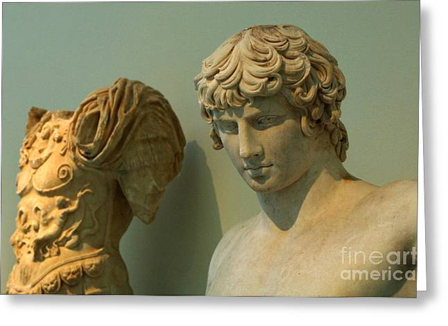 Museum Athens Greeting Cards - Greek Statue Of A Young Soldier Greeting Card by Bob Christopher