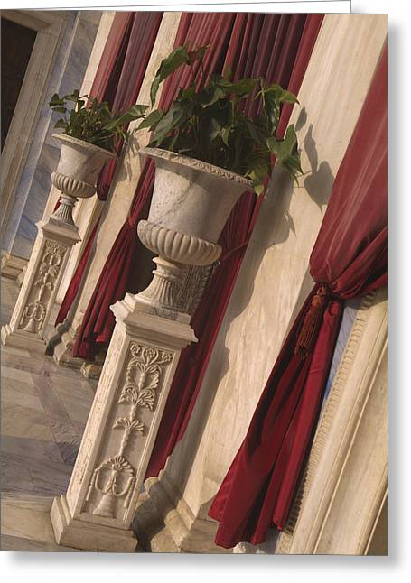 Greek Urns And Red Drapes At Entrance Greeting Card by Richard Nowitz
