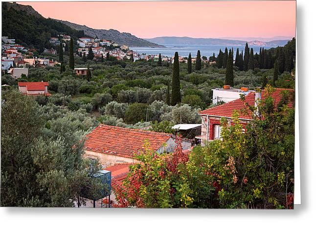 Greek Village  Greeting Card by Emmanuel Panagiotakis