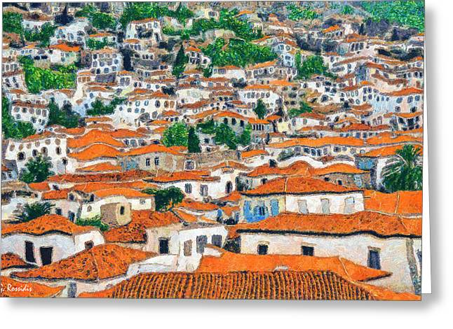 Red Clay Greeting Cards - Greek village Greeting Card by George Rossidis