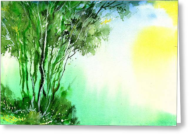 Green 1 Greeting Card by Anil Nene