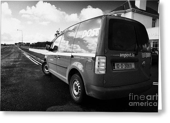 Postal Greeting Cards - Green An Post Irish Postal Service Delivery Van In Small Rural Town Of Enniscrone County Sligo Greeting Card by Joe Fox