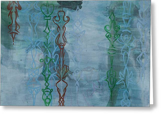 Muted Drawings Greeting Cards - Green and Blue Crystal Strands Greeting Card by Alexandra Sheldon