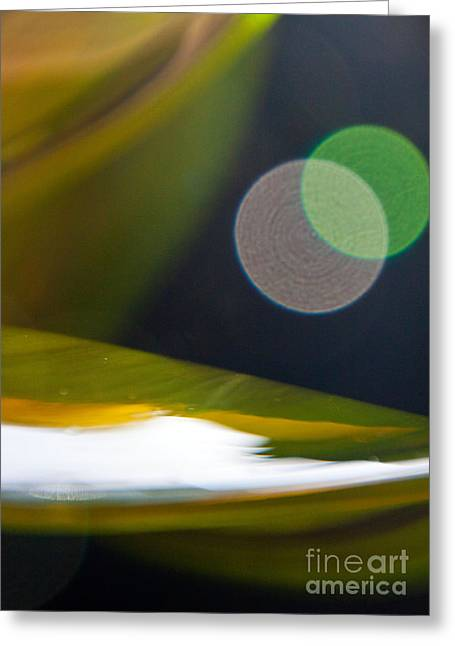 Abstract Print Glass Art Greeting Cards - Green and Gold Abstract Greeting Card by Dana Kern