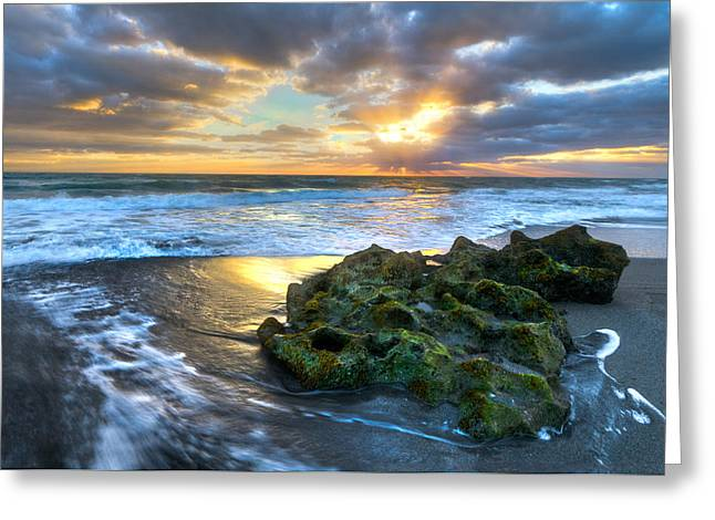 Blue Green Wave Greeting Cards - Green and Gold Greeting Card by Debra and Dave Vanderlaan