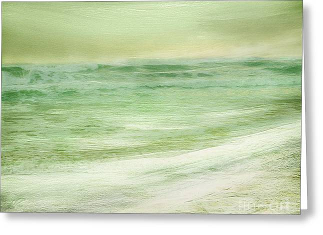 Sand Art Greeting Cards - Green and Gold  Greeting Card by Linde Townsend