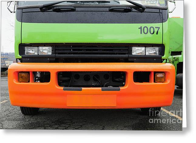 Garbage Truck Greeting Cards - Green And Orange Garbage Truck Greeting Card by Don Mason