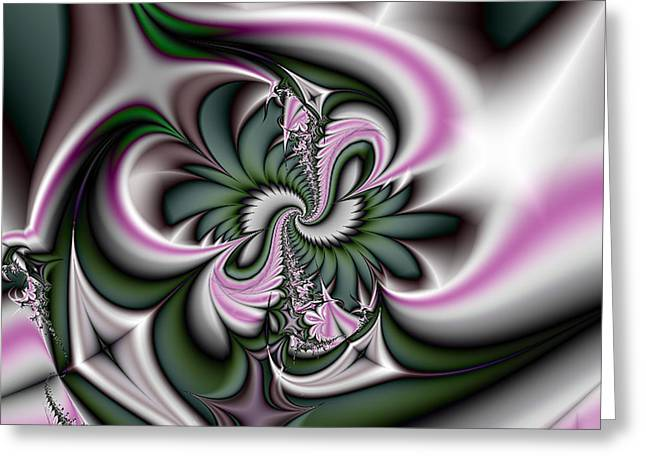 Green And Pink Fractal Greeting Card by Gina Lee Manley