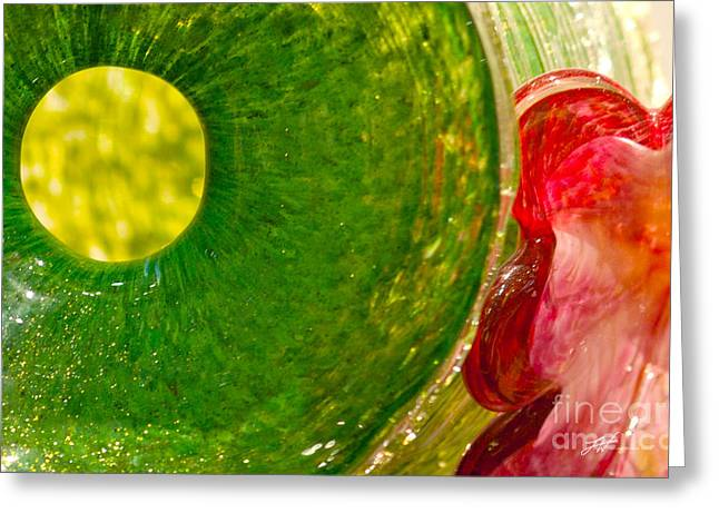 Famous Photographers Greeting Cards - Green and Red Greeting Card by Artist and Photographer Laura Wrede