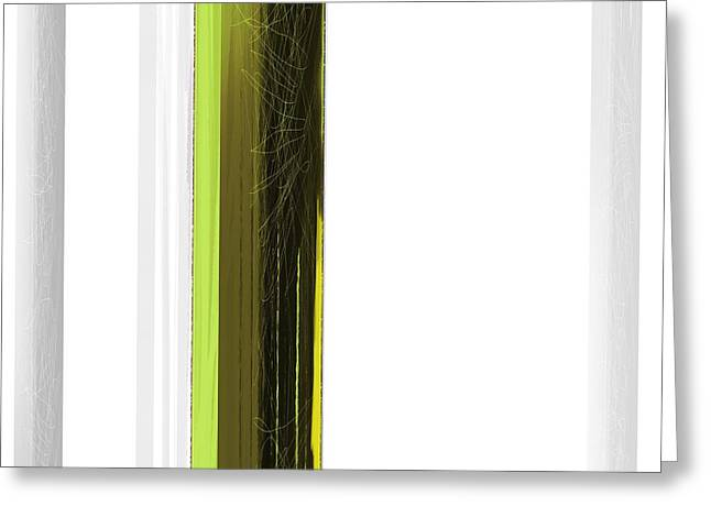 Geometric Greeting Cards - Green and White Greeting Card by Naxart Studio