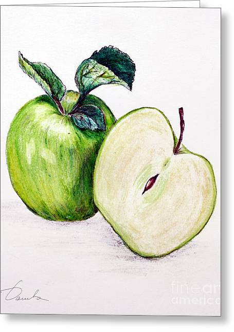 Fresh Green Drawings Greeting Cards - Green apple Greeting Card by Danuta Bennett