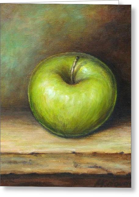 Green Greeting Cards - Green Apple Greeting Card by Mirjana Gotovac