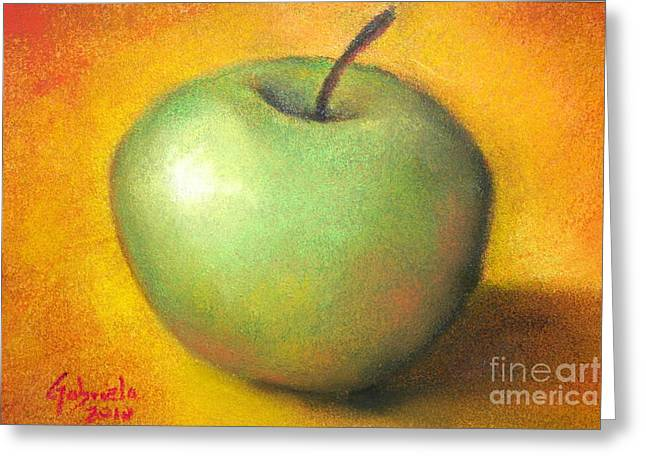 Apple Pastels Greeting Cards - Green Apple Studio Greeting Card by Gabriela Valencia