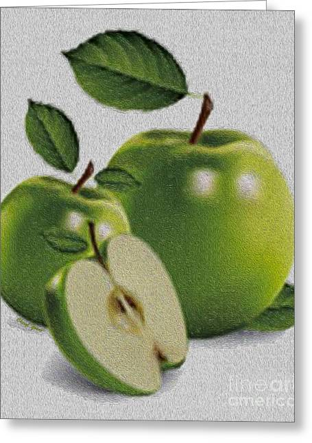 Crisp Greeting Cards - Green Apples Greeting Card by Cheryl Young