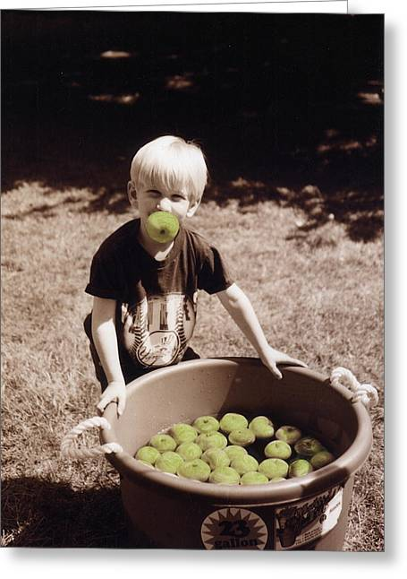 Apples; Bobbing; Apple Greeting Cards - Green Apples Greeting Card by Cindy Roesinger