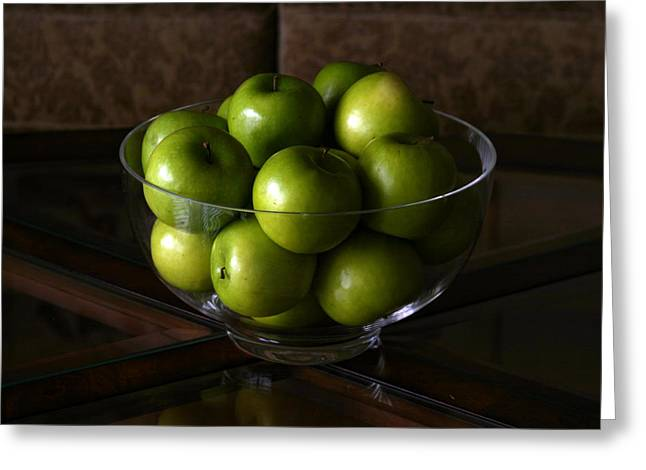 Glass Bowls Greeting Cards - Green Apples Greeting Card by Michael Ledray