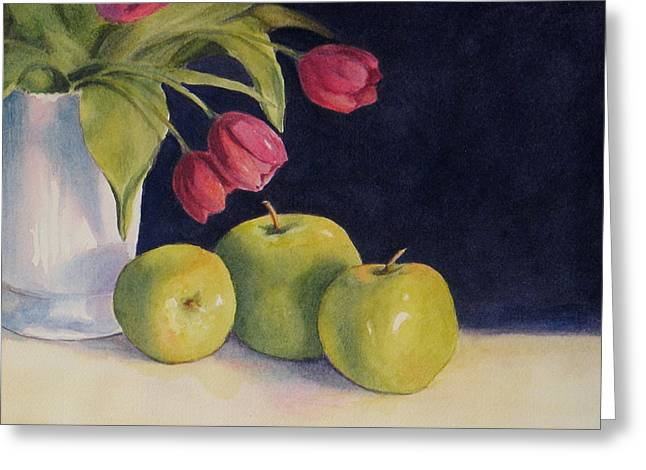 Still Life With Green Apples Greeting Cards - Green Apples with Tulips Greeting Card by Vikki Bouffard