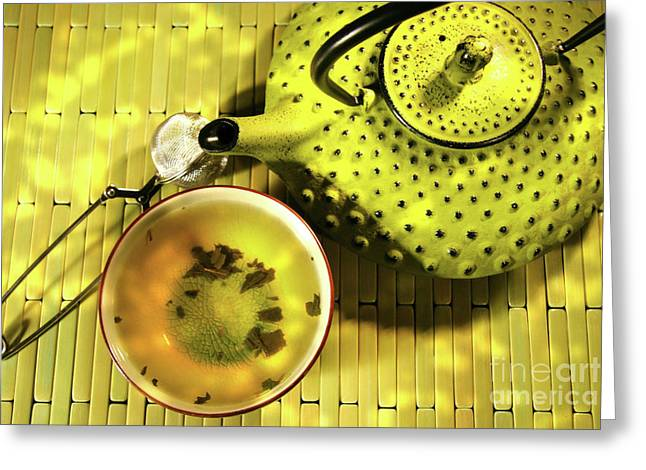 Healthy Herbs Greeting Cards - Green asian teapot with cup  Greeting Card by Sandra Cunningham