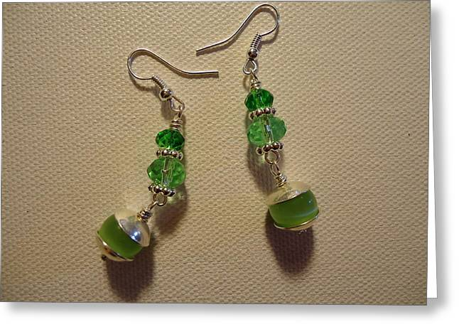 Green Ball Drop Earrings Greeting Card by Jenna Green