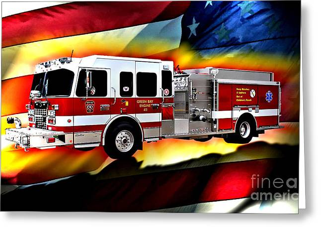 Fireman Posters Greeting Cards - Green Bay Engine 411 Greeting Card by Tommy Anderson