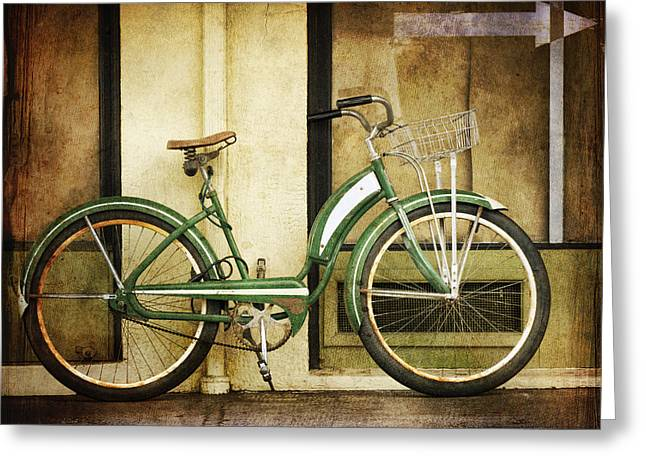 Small Town Greeting Cards - Green Bicycle Greeting Card by Carol Leigh