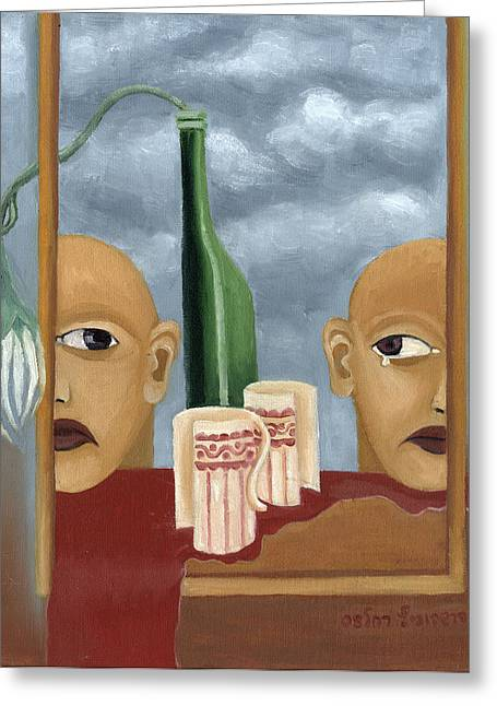 Bordo Paintings Greeting Cards - Green bottle Agony surrealistic artwork with crying heads cut cups flowing red wine or blood frame   Greeting Card by Rachel Hershkovitz