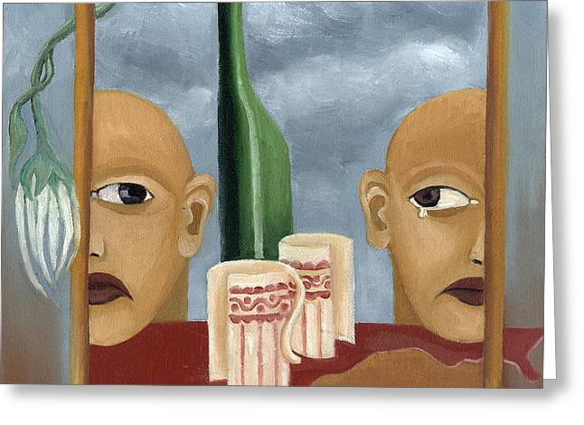 Green bottle Agony surrealistic artwork with crying heads cut cups flowing red wine or blood frame   Greeting Card by Rachel Hershkovitz