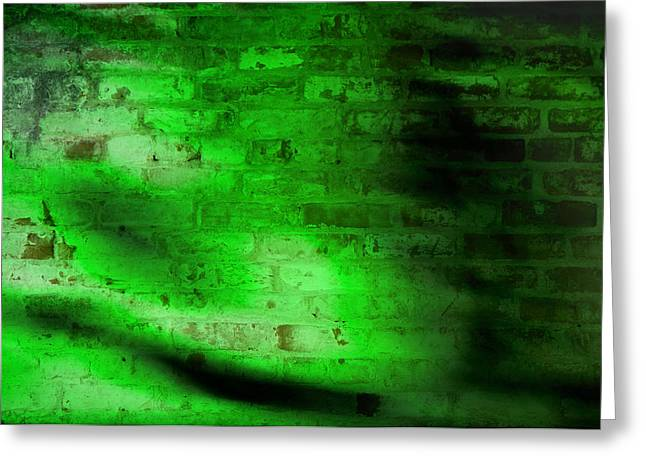 Susan Leggett Greeting Cards - Green Brick Wall Greeting Card by Susan Leggett