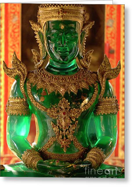 Exceptional Greeting Cards - Green Buddha Greeting Card by Bob Christopher