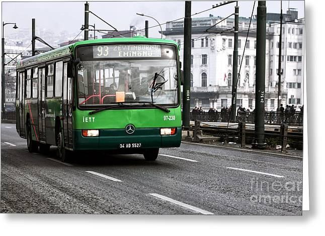 Interior Scene Greeting Cards - Green Bus on the Galata Greeting Card by John Rizzuto