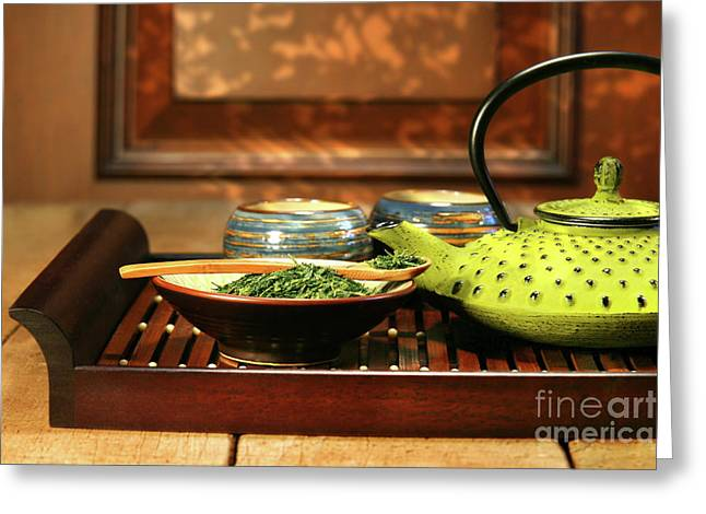 Zen-like Greeting Cards - Green cast iron teapot Greeting Card by Sandra Cunningham