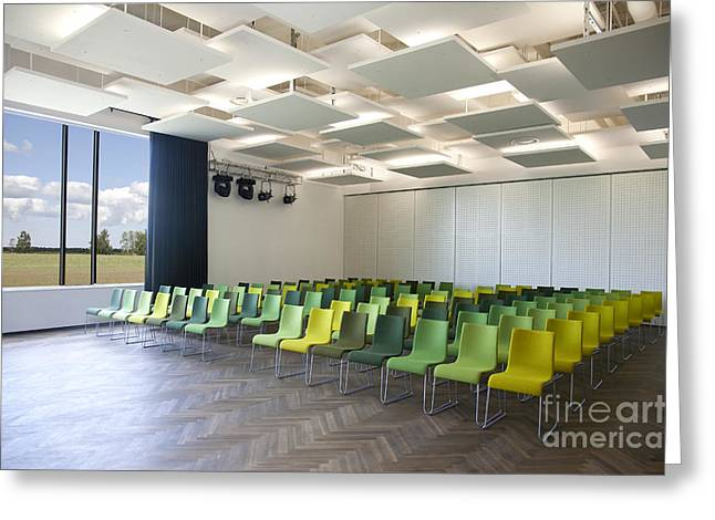 Green Chairs In A Presentation Room Greeting Card by Jaak Nilson