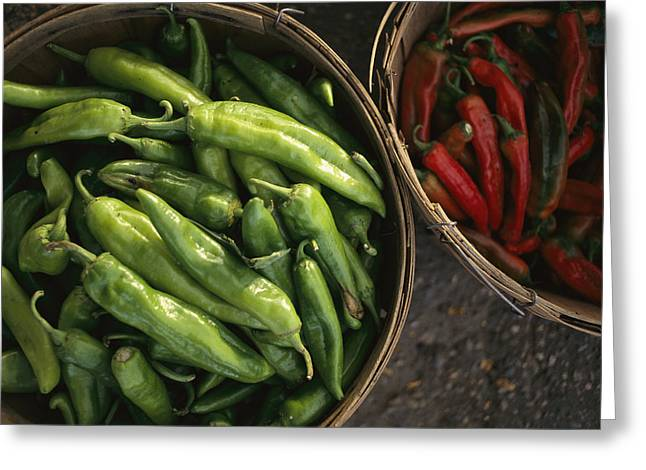 Food Vendors Greeting Cards - Green Chile Roasting Stands Greeting Card by Michael S. Lewis
