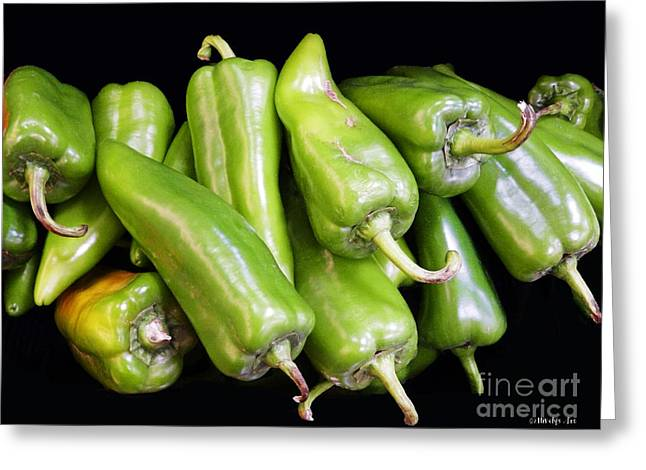 Chilies Greeting Cards - Green Chilies Greeting Card by Methune Hively