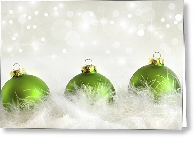 Backdrop Greeting Cards - Green christmas balls Greeting Card by Sandra Cunningham