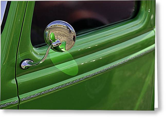 Green Classic Pickup Door Greeting Card by M K  Miller