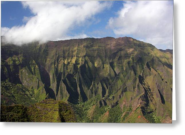 Napali Greeting Cards - Green Cliffs Greeting Card by Jeff Bord