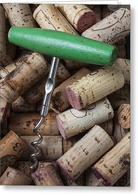 Vintner Greeting Cards - Green corkscrew Greeting Card by Garry Gay