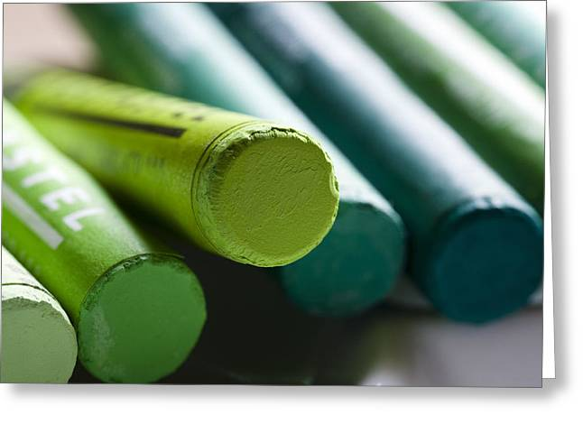 Artist Photographs Greeting Cards - Green crayons Greeting Card by Frank Tschakert