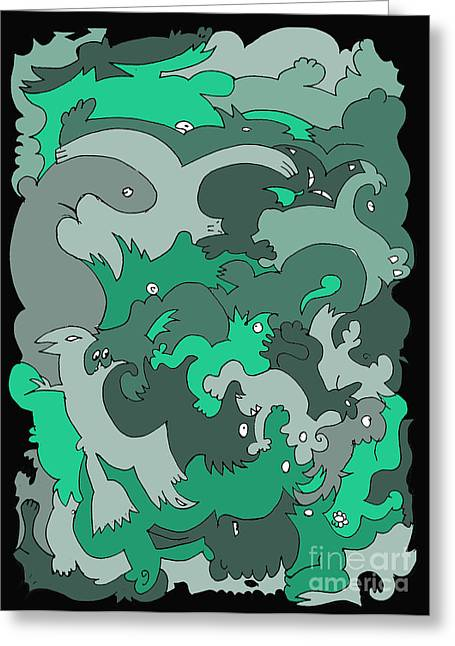 Barbara Marcus Greeting Cards - Green Creatures Greeting Card by Barbara Marcus