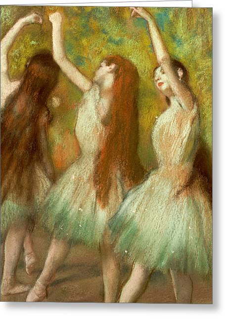 Tutu Pastels Greeting Cards - Green Dancers Greeting Card by Edgar Degas