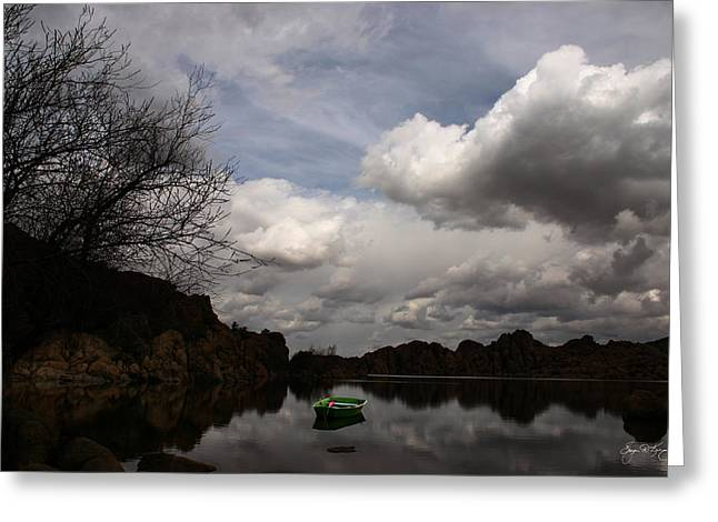 Watson Lake Greeting Cards - Green Dingy in the Dells Greeting Card by Wayne King