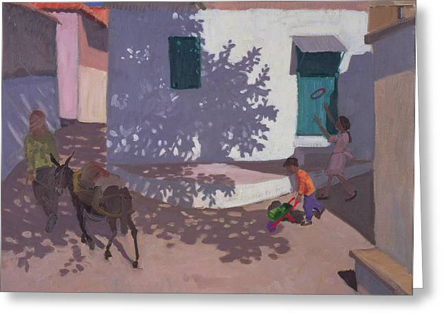 Village Life Greeting Cards - Green Door and Shadows Lesbos Greeting Card by Andrew Macara
