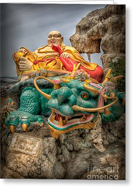 Tao Greeting Cards - Green Dragon  Greeting Card by Adrian Evans
