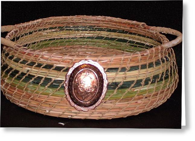 Pine Needles Mixed Media Greeting Cards - Green Dyed and Natural Pine Needle Basket Greeting Card by Georgiana and Russell Barton