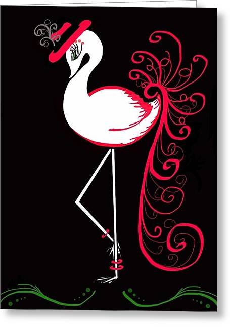 Green Swirl Hat Greeting Cards - Green Eyed Flamingo Greeting Card by Celestina Quick