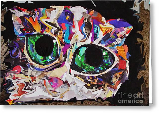 Abstract Digital Mixed Media Greeting Cards - Green Eyed Kitty Greeting Card by Julie Hiskett