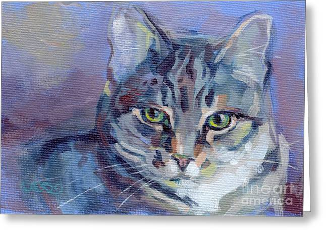 Tabby Greeting Cards - Green Eyed Tabby - Thomasina Greeting Card by Kimberly Santini